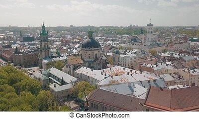 Lvov, Ukraine. Aerial City Lviv, Ukraine. Panorama of the old town. Dominican