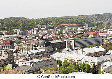 LVOV, UKRAINE - MAY 3, 2015: View of the city in sunny day