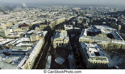 LVOV, UKRAINE. Panorama of the ancient city. The roofs of old buildings. winter. Falling snow