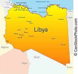 Lybia country - Abstract vector color map of Lybia country
