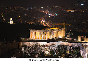 lycabettus, 山, アテネ, 夜, アクロポリス, 光景