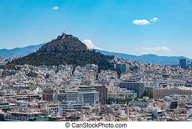 A picture of the Lycabettus Hill as seen from the Acropolis of Athens.
