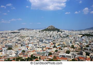 lycabettus, panorama, dominado, atenas, colina