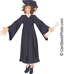 lycee, femme, jeune, remise de diplomes