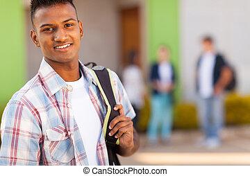 lycee, mâle, indien, étudiant