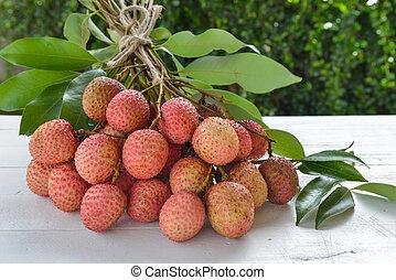 lychee, bois, fond, frais
