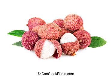 lychee fresh fruits on white