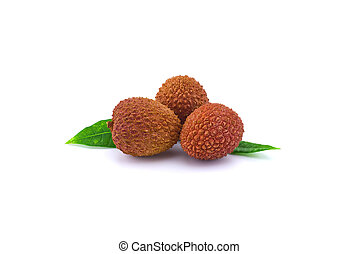 Lychee fruit composition with green leaves