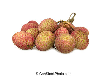 lychee fruit isolated on white background with clipping path