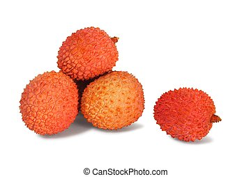 Lychee fruits on white