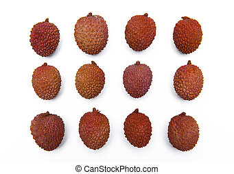 Lychee, Litchi fruits isolated on white
