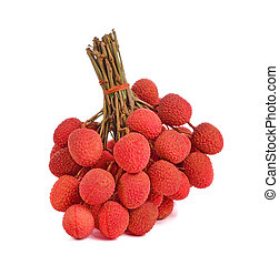 lychee on white background