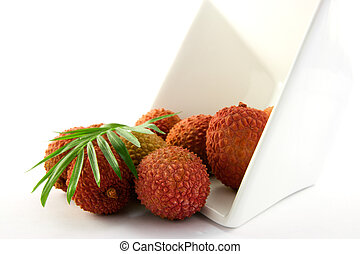 Lychee Spilling out of a Dish with Leaf