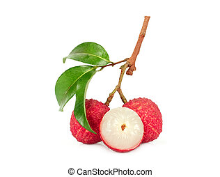 lychee with leaf isolated on white background
