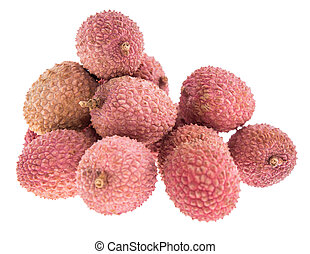 lychees, isolato, bianco