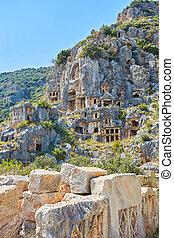 rock tombs in the ancient city of Myrrh. Turkey