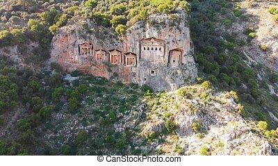 Lycian tombs of ancient Kaunos town near Dalyan village in Mugla province of Turkey