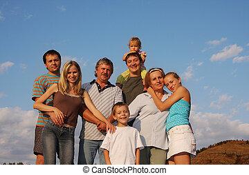 lycka, stort, familj, 2