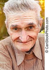 lycklig, äldre bemanna