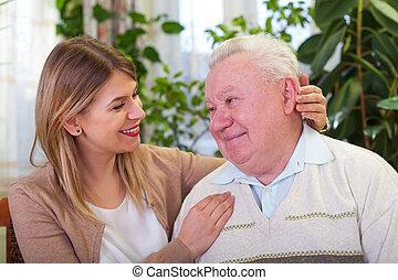 lycklig, äldre bemanna, med, sondotter