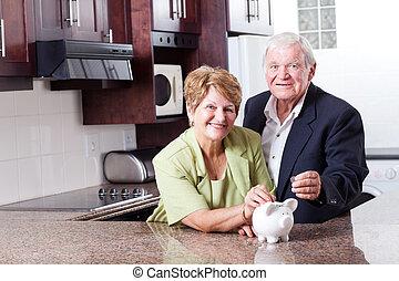 lycklig, äldre koppla, besparing, för, avgång