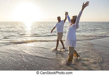 lycklig, äldre koppla, gårdsbruksenheten räcker, solnedgång, soluppgång, strand