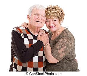 lycklig, äldre koppla, stående