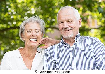 lycklig, äldre koppla