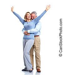 lycklig, äldre, par.