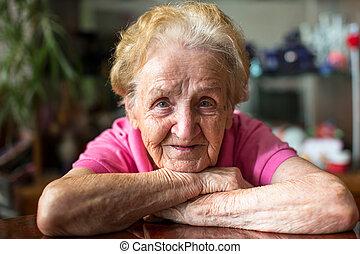 lycklig, äldre, woman.