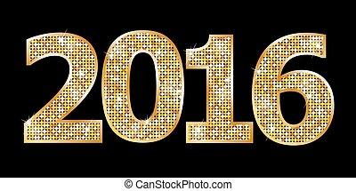 lycklig, år, färsk, 2016