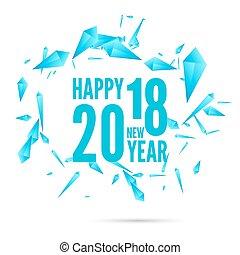 lycklig, år, färsk, bakgrund, 2018