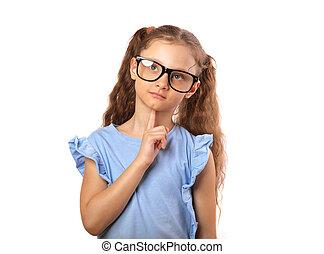 lycklig, ögon, tänkande, uppe, isolerat, se, grimacing, tom, bakgrund, nöje, flicka, avskrift, vit, spase., glasögon