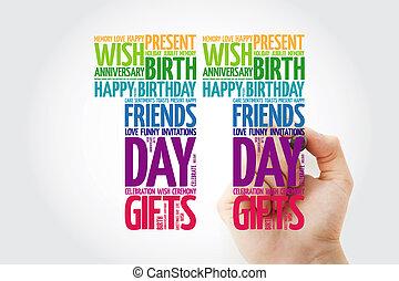 lycklig, 11, födelsedag, ord, moln, collage, begrepp