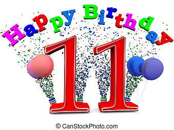 lycklig, 11, födelsedag