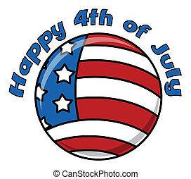 lycklig, 4 av juli, cirkulär, ikon