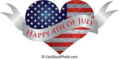 lycklig, 4 av juli, hjärta, med, rulla