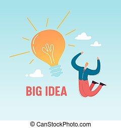lycklig, affär, framgång, lätt, concept., illustration, skapande, nyskapande, idé, vektor, stor, affärsman, prestation, bulb., kläckning av ideer, hoppning