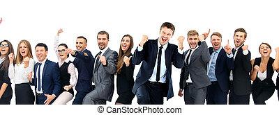 lycklig, affär, group., lycklig, affärsverksamhet lag, fira,...