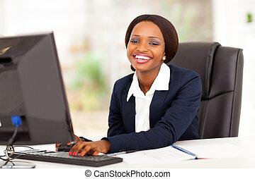 lycklig, affärskvinna, afrikansk amerikan