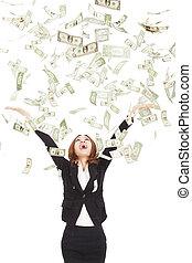 lycklig, affärskvinna, försöka, till, fånga, den, pengar