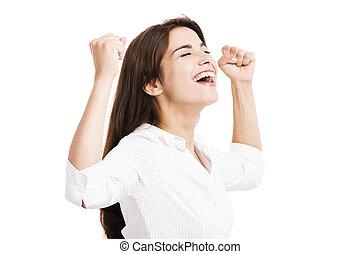 lycklig, affärsverksamhet kvinna