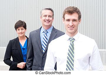 lycklig, affärsverksamhet lag, hos, kontor