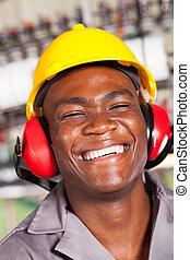 lycklig, afrikansk amerikan, fabriksarbetare