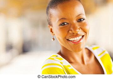 lycklig, amerikansk kvinna, afrikansk