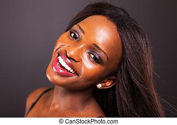 lycklig, amerikansk kvinna, ung, afrikansk