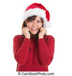 lycklig, asiat, jul, kvinna