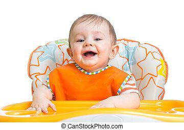lycklig, baby barn, väntan, för, mat
