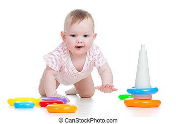 lycklig, baby, leka, med, leksak