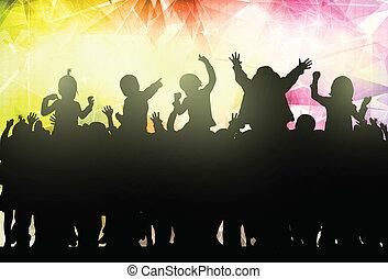 lycklig, barn, dansande